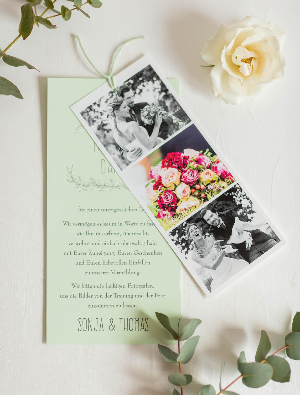 Foto-Danksagungskarte mit hellgrüner Schnur und eigenen Bildern