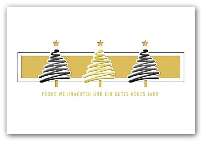 Moderne Weihnachtsgrüße Für Karten.Moderne Weihnachtskarte Mit Tannenbäumen Und Einleger In Gold