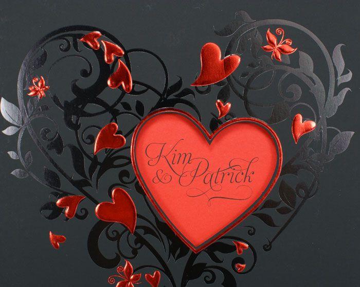 Hochzeitskarte Schwarz Rot Herzen Ornament Glanzlack Ba723013