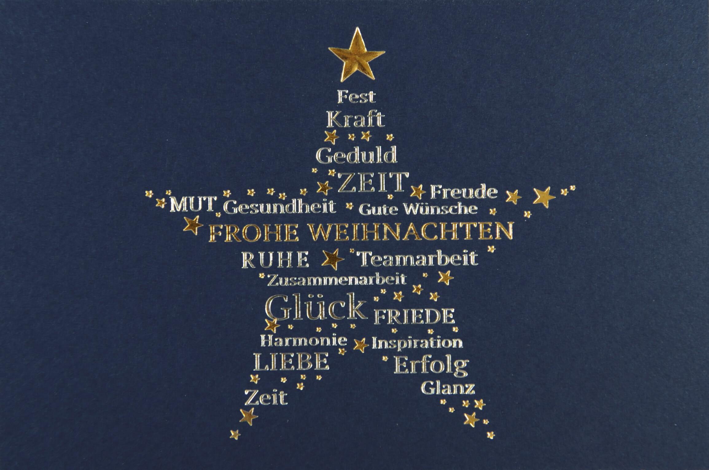 Geschäftliche Weihnachtskarte mit Weihnachtsgruß und Falteinleger ...