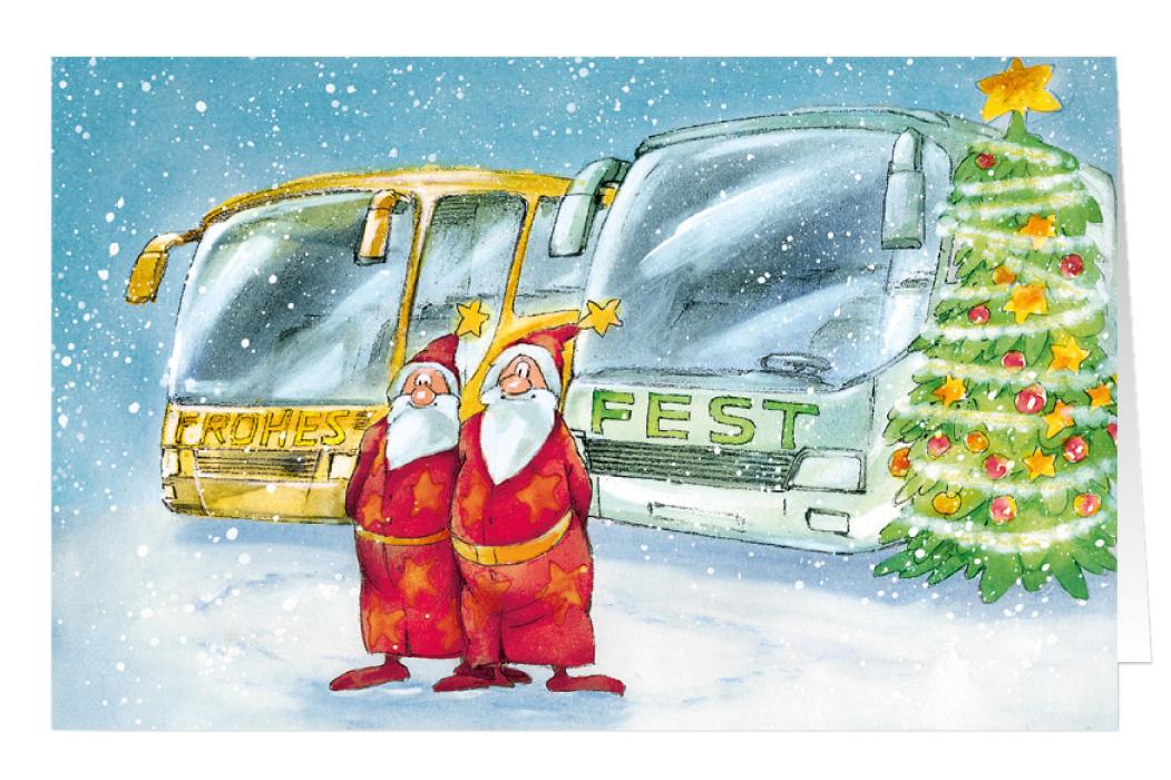 weihnachtskarte branchenkarte busreisen frohes fest. Black Bedroom Furniture Sets. Home Design Ideas