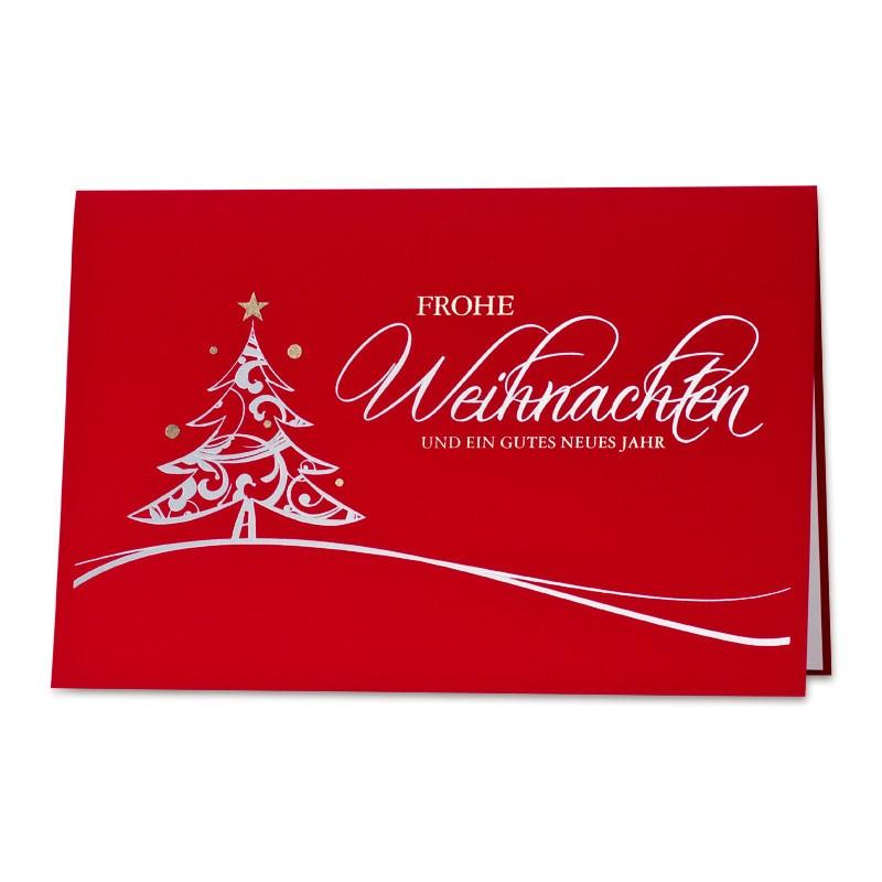 Weihnachtskarte rot mit Baum, Gruß und gutem Zweck: Herzenswünsche ...