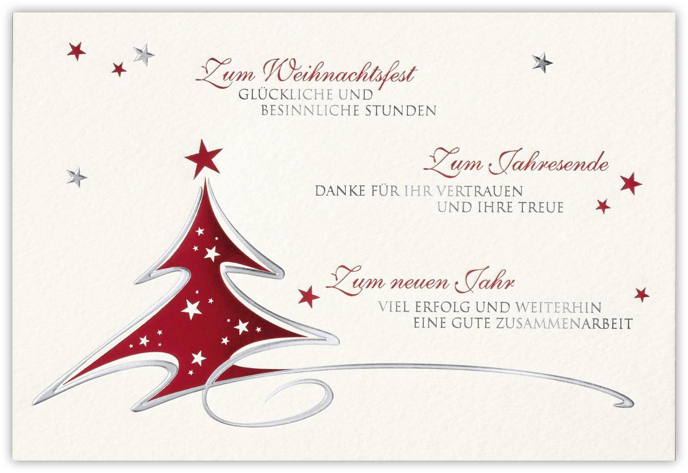 gesch ftliche weihnachtskarte cremefarben mit dank f r. Black Bedroom Furniture Sets. Home Design Ideas