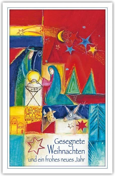 Religiöse Weihnachtskarten.Biblische Weihnachtskarte Bunt Mit Weihnachts Und Neujahrsgruß