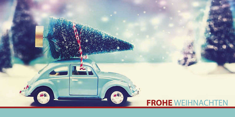 weihnachtskarte mit weihnachtsbaum auf vw k fer frohe. Black Bedroom Furniture Sets. Home Design Ideas