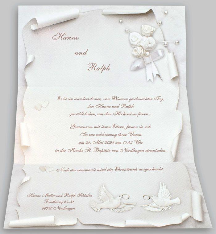Hochzeitskarte Hochzeitsbrief Mit Herzen Ringen Rosen Tauben