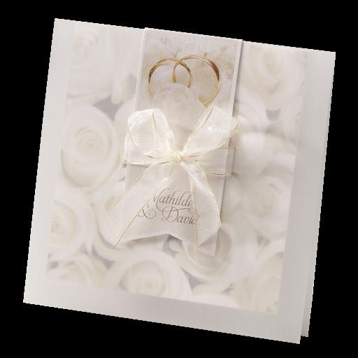 Einladungskarte Romantik M Rosenbluten Hinter Transparentpapier