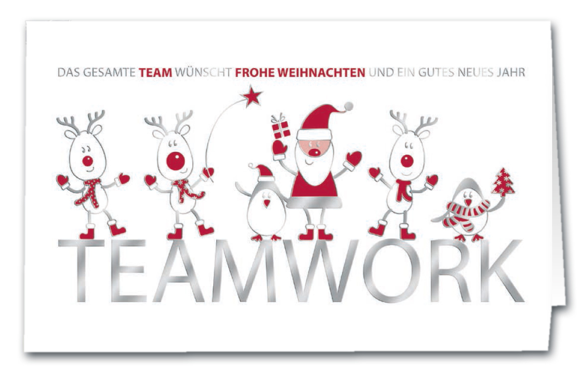 humorvolle weihnachtskarte mit weihnachtsgr en vom team. Black Bedroom Furniture Sets. Home Design Ideas
