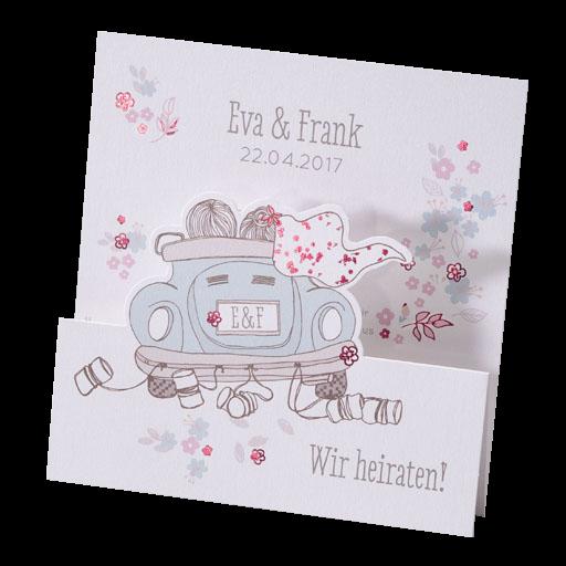 Hochzeitskarte Mit Blumen Und Brautpaar Im Vw Kafer