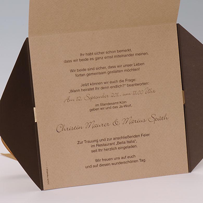 Einladungskarte braun gold ornament auch f r goldene hochzeit hochzeitskarten - Ideen geburtstagsfeier ...