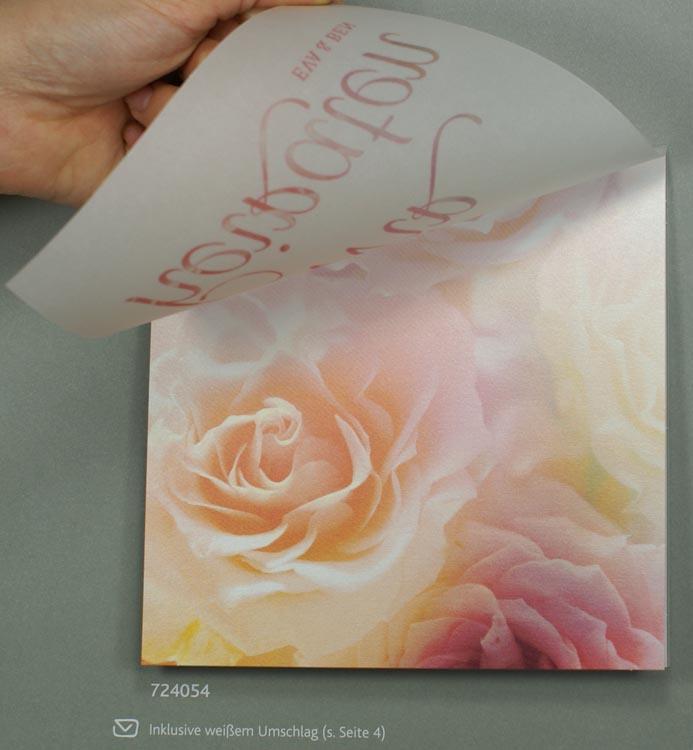 Hochzeitskarte Mit Pastell Rosenbluten Und Transparentpapier
