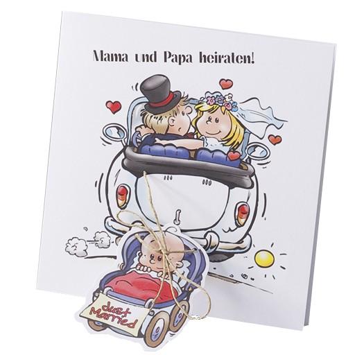 Einladungskarte Zur Hochzeit Mit Comic Brautpaar Kinderwagen U2013  Hochzeitskarten U2013 Hochzeitseinladungskarten U2013 Einladungskarten Mit Baby,  Zur Taufe / Traufe ...