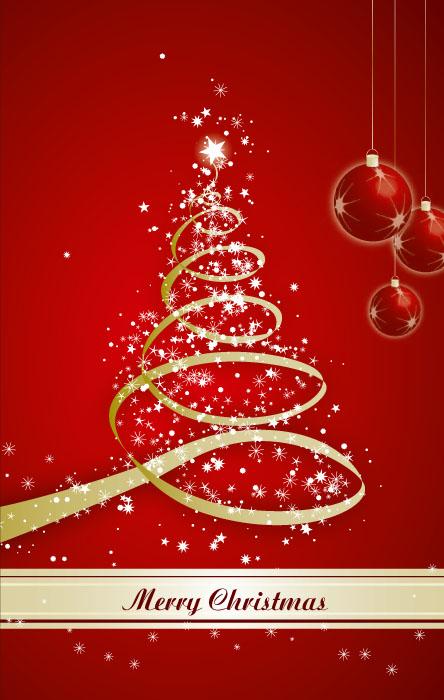 weihnachtskarte goldtanne merry christmas rot kugeln. Black Bedroom Furniture Sets. Home Design Ideas
