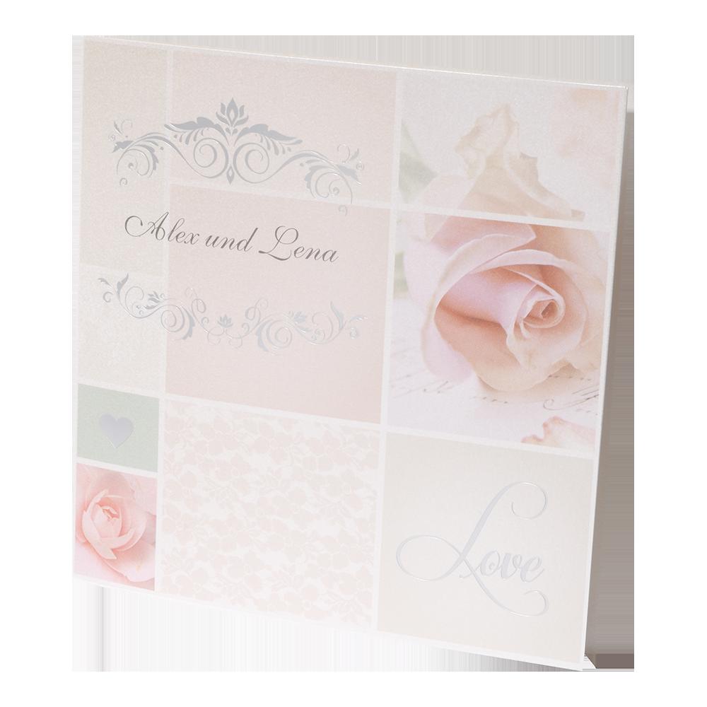 hochzeitskarte mit ornament herz rosen und schriftzug. Black Bedroom Furniture Sets. Home Design Ideas