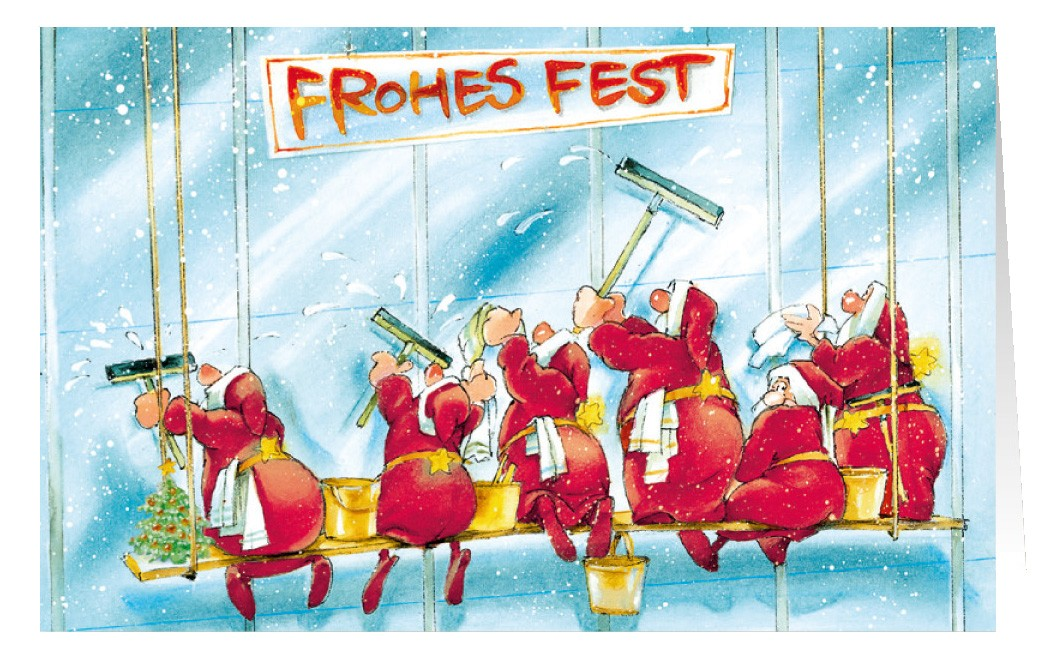 Weihnachtskarten Comic.Weihnachtskarte Branchenkarte Gebäudereinigung Fassadenreinigung