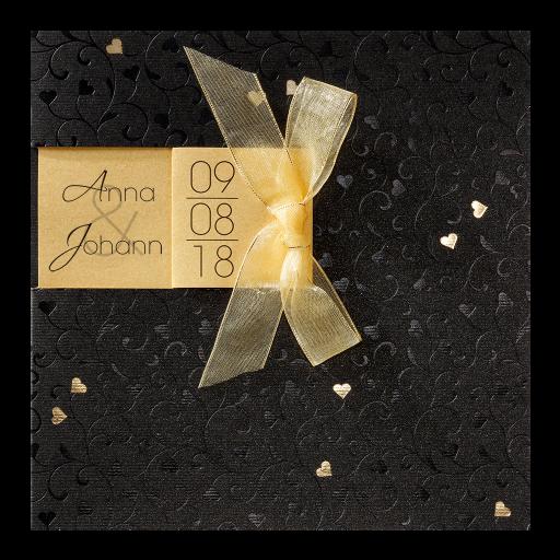 Hochzeitskarte festlich in schwarz mit goldener Schleife, Sichtfenster ...