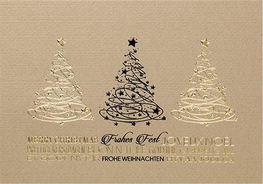 Weihnachtskarten Spende.Weihnachtskarte International In Sandgold Mit Gutem Zweck Spende