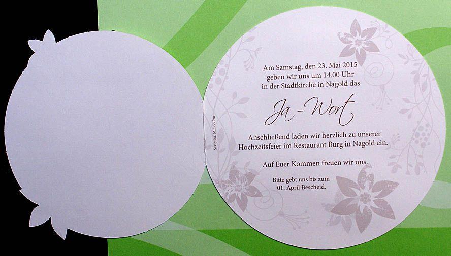Einladungskarte pr rund creme perlmuttmetallic Folienpräg
