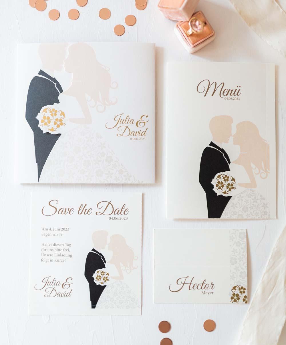 Hochzeitskarten Serie mit Braut, Bräutigam und Brautstrauß und Magnet zum Verschließen