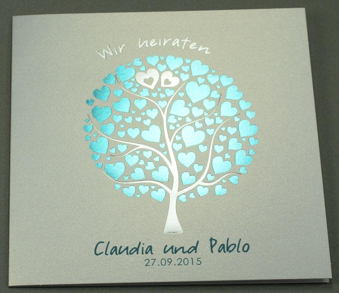 Hochzeitskarte Quadratisch Mit Baum Mit Herzblattern Ba723086