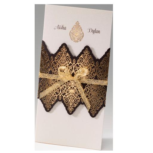 gold mit dunkelbrauner Banderole – Hochzeit – Hochzeitseinladungen ...