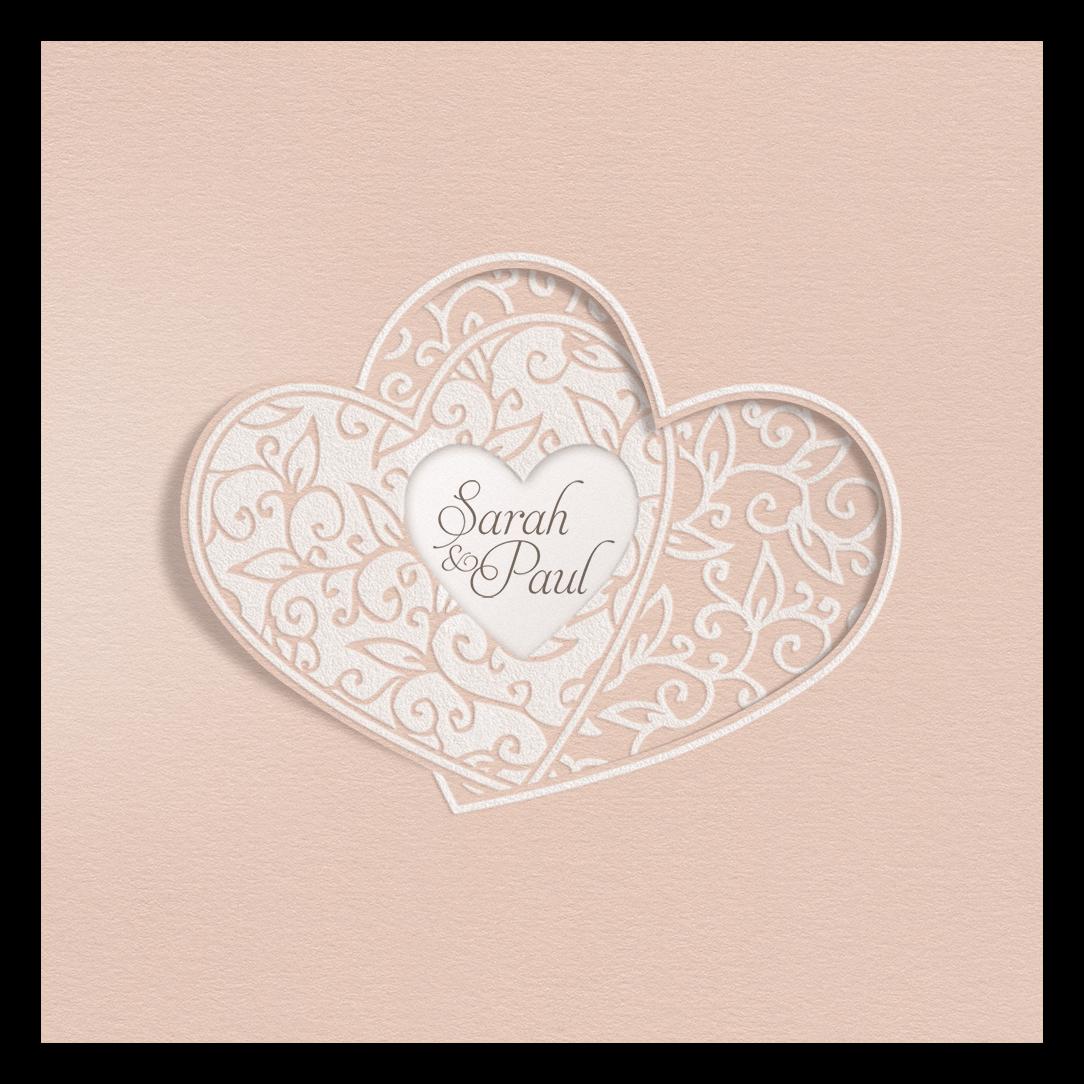 Hochzeitskarte In Lachsrosa Mit Flockdruck Und Verschlungenen Herzen