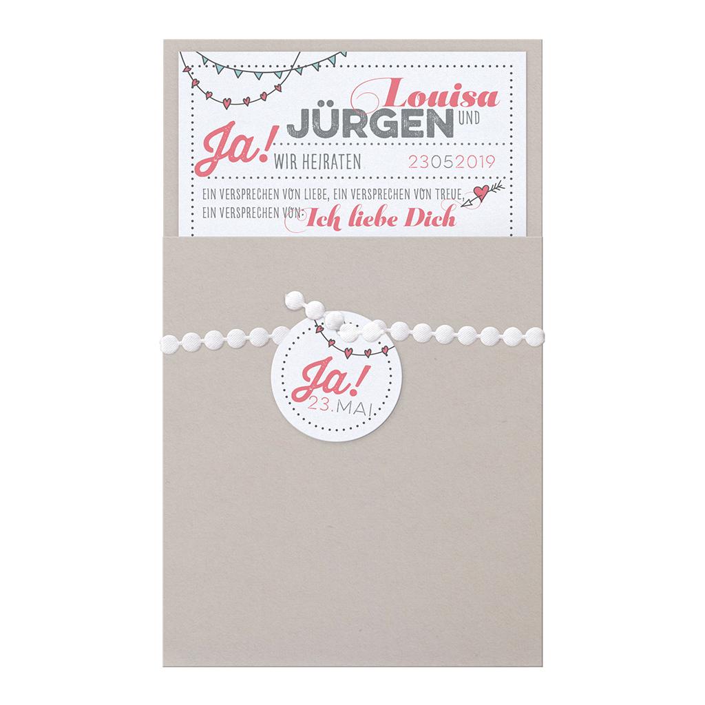 Moderne Hochzeitskarte In Grau Mit Originellen Motiven Passend Zur