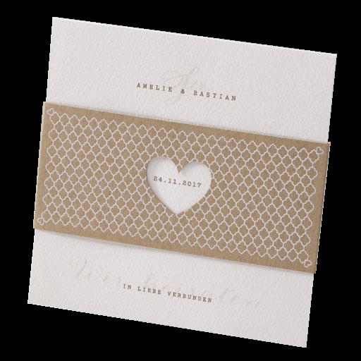 Hochzeitskarte Aus Recycling Kraftpapier Mit Banderole Inkl Herz