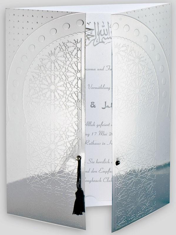 Orientalische Einladungskarte Spiegelfolie Silber Torbogen
