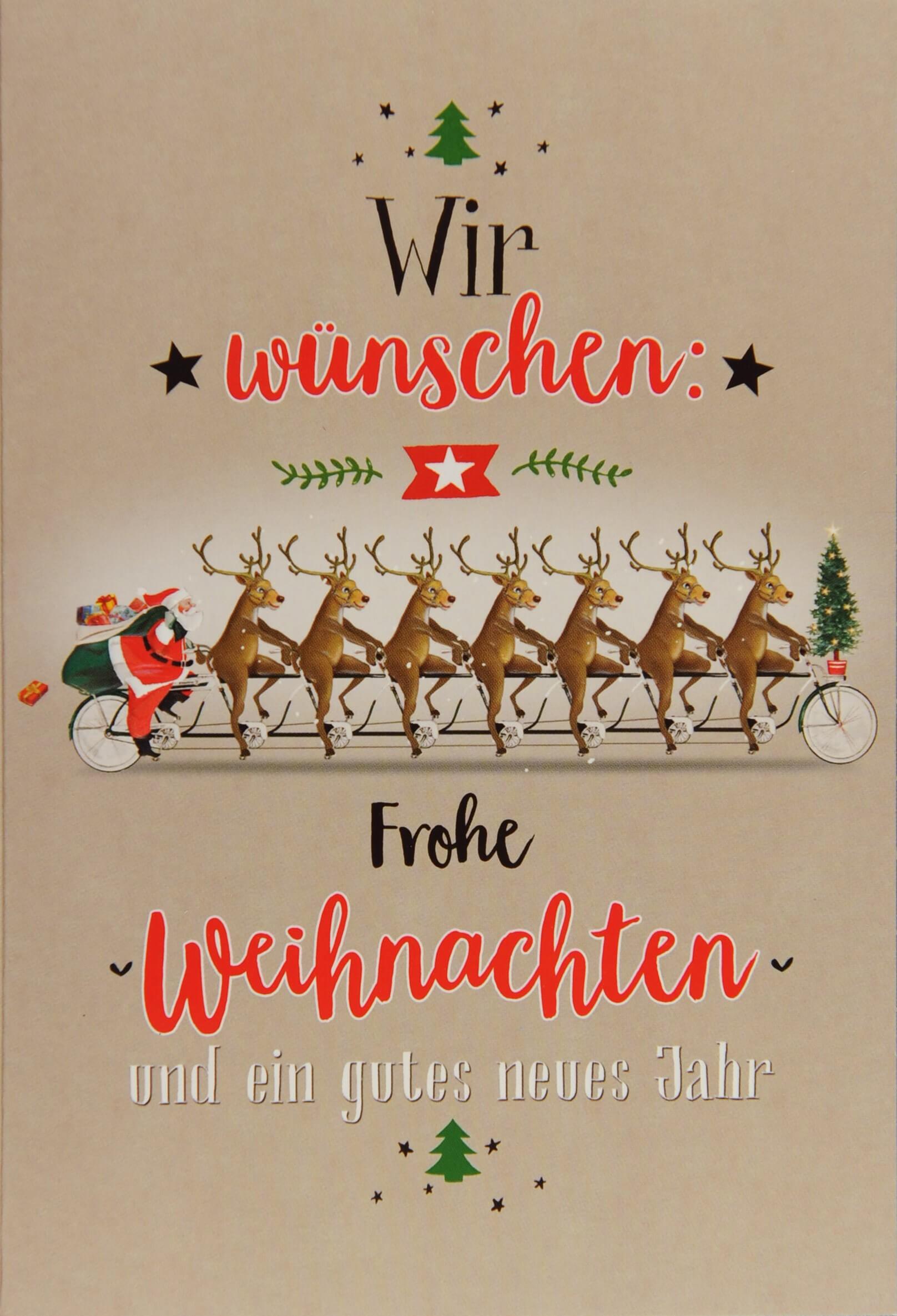 Weihnachtskarten Mit Fingerabdruck.Lustige Weihnachtskarte Rentiere Mit Weihnachtsmann Auf Fahrrad