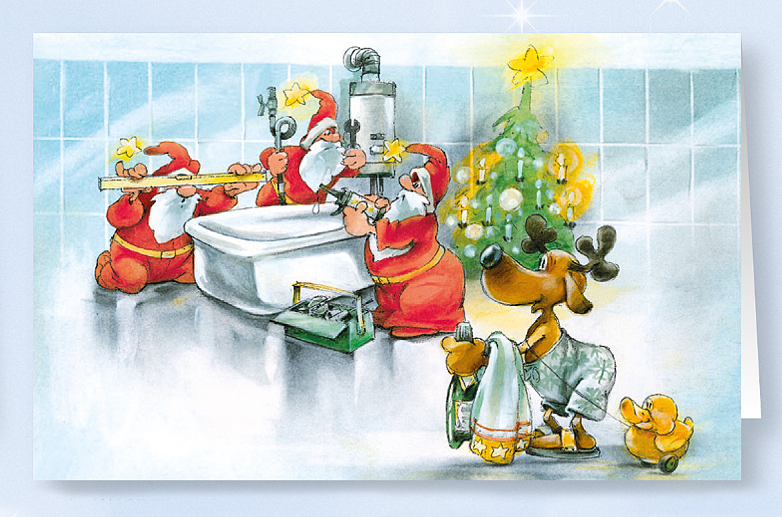 weihnachtskarte branchenkarte f r sanit rbetriebe bad. Black Bedroom Furniture Sets. Home Design Ideas
