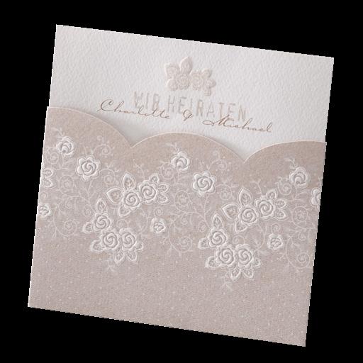 Einladungskarte Creme Braun Mit Blutenmuster Pocket Kontur