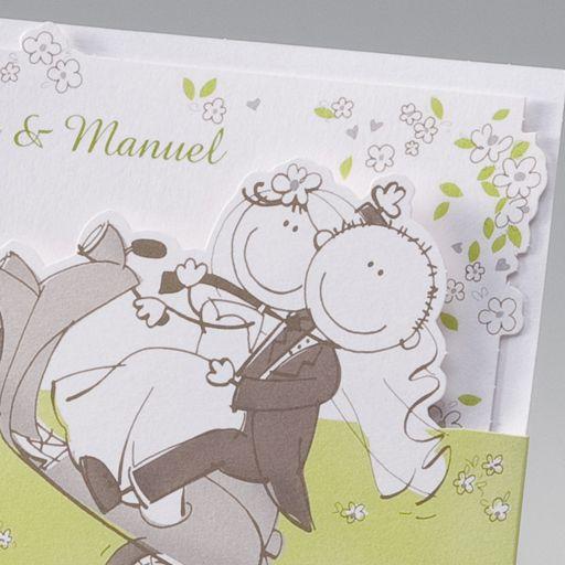 Hochzeitseinladungskarte ic mit Brautpaar auf Roller