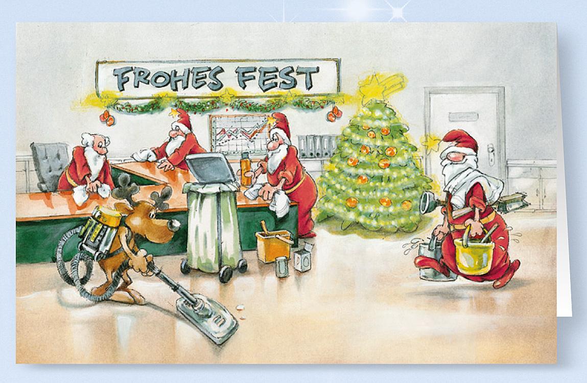 weihnachtskarte branchenkarte raumpflege reinigungsdienst. Black Bedroom Furniture Sets. Home Design Ideas