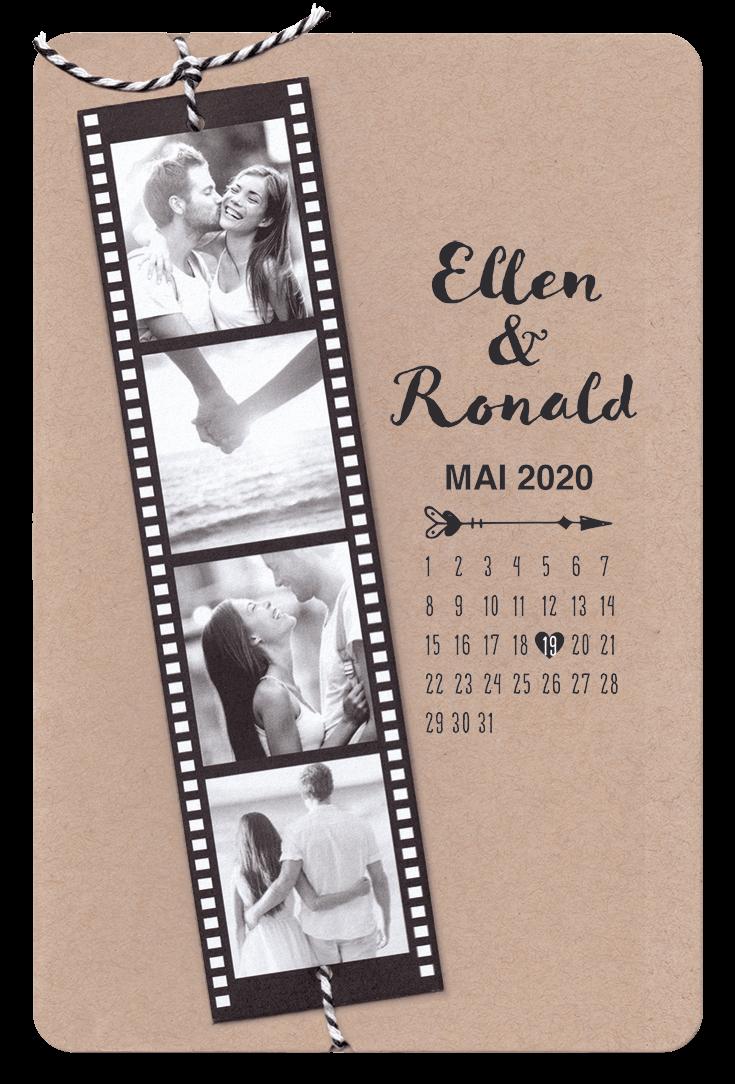 Moderne hochzeitskarte mit eigenen fotos auf filmstreifen