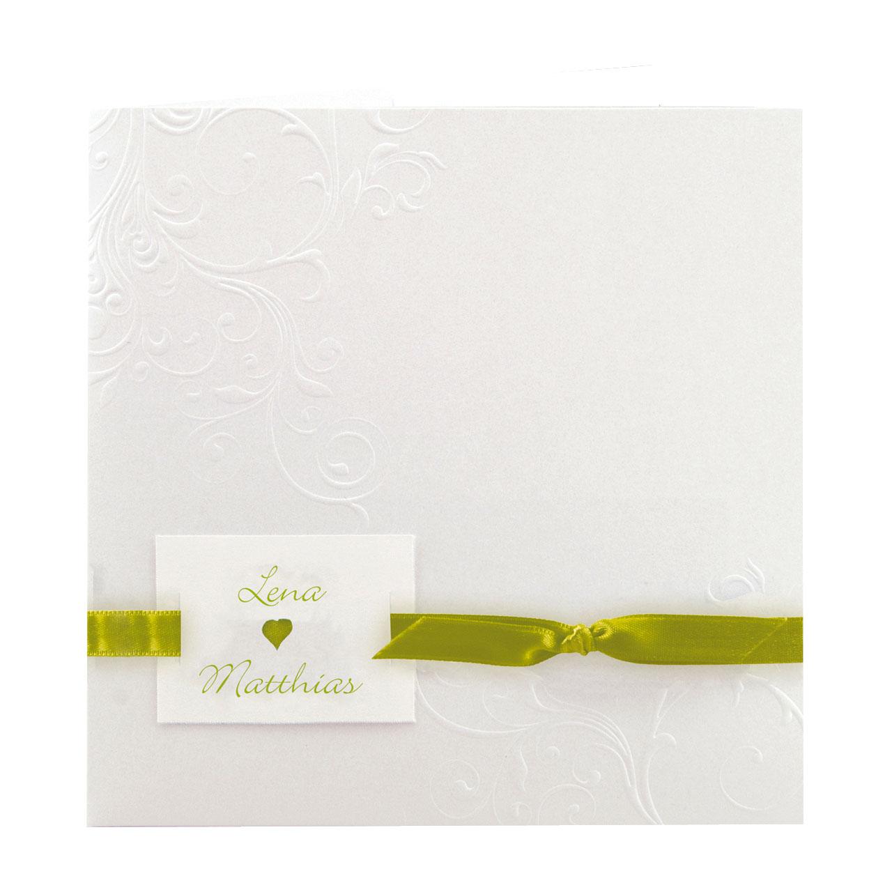 Einladungskarte Cremeweiss Metallic Mit Ornamentpragung Und Bandchen