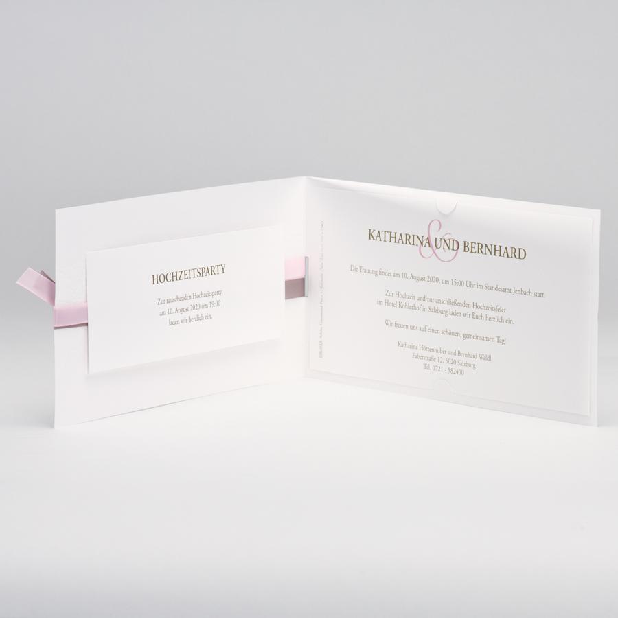 einladungskarte wei mit ornament und den bandfarben beige. Black Bedroom Furniture Sets. Home Design Ideas