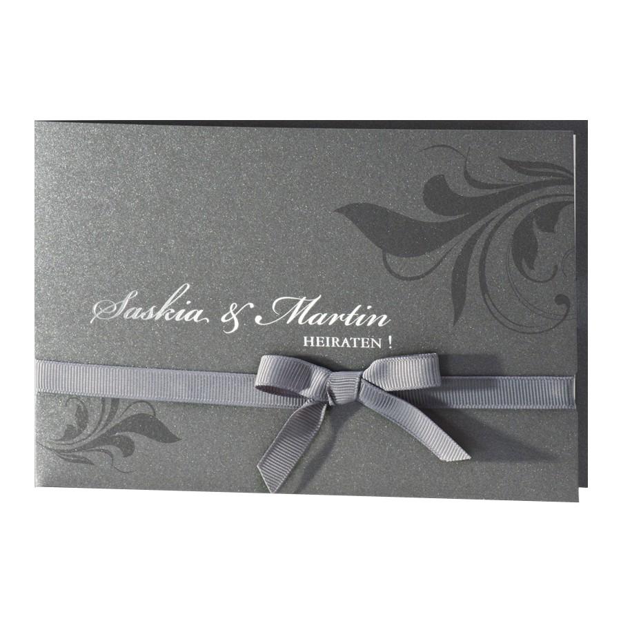 Einladungskarte anthrazit Pocket für Hochzeit Silberhochzeit