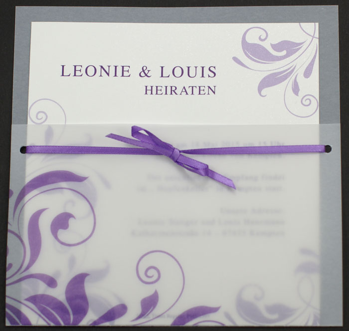 Einladungskarte quadratisch lila Ornament Transparent pr16365 ...
