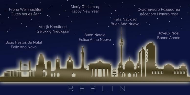 Frohe Weihnachten Berlin.Weihnachtskarte Nachtblau Berlin Skyline Internationale Grüße
