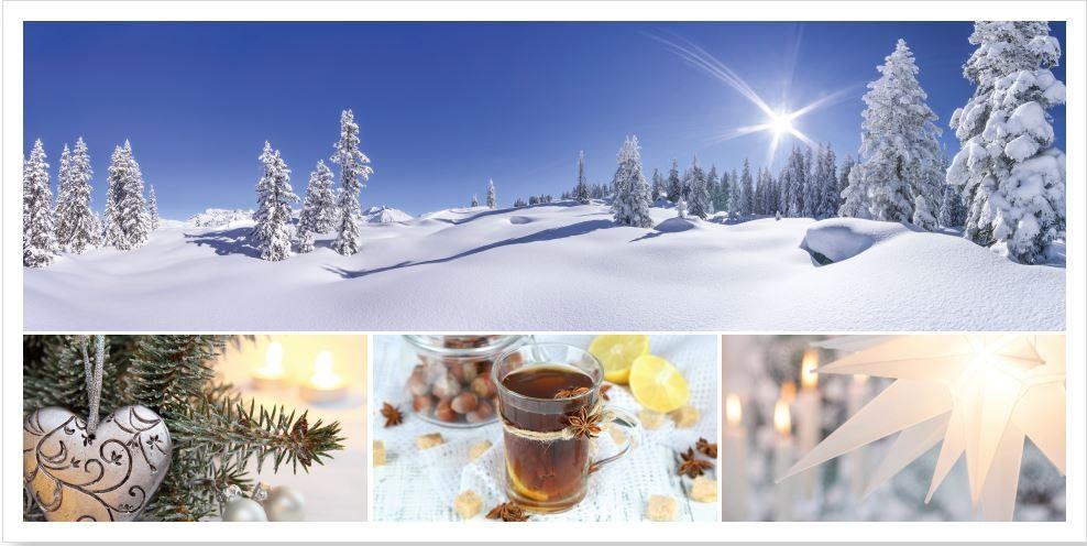 Panorama Weihnachtskarte Mit Winter Und Weihnachtsimpressionen