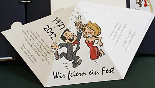 Pyramiden Einladungskarte Zur Silberhochzeit Mit Witziger Comic Karikatur U2013  Hochzeitskarten U2013 Hochzeitseinladungskarten U2013 Nach Formen Sortiert U2013  Dreieck ...