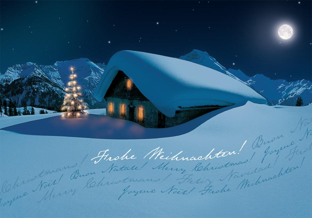 weihnachtskarte in n chtlicher gebirgslandschaft mit. Black Bedroom Furniture Sets. Home Design Ideas