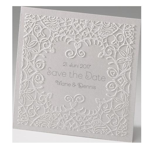 Save the Date Karten / Dankkarten in perlmutt mit Flockdruck