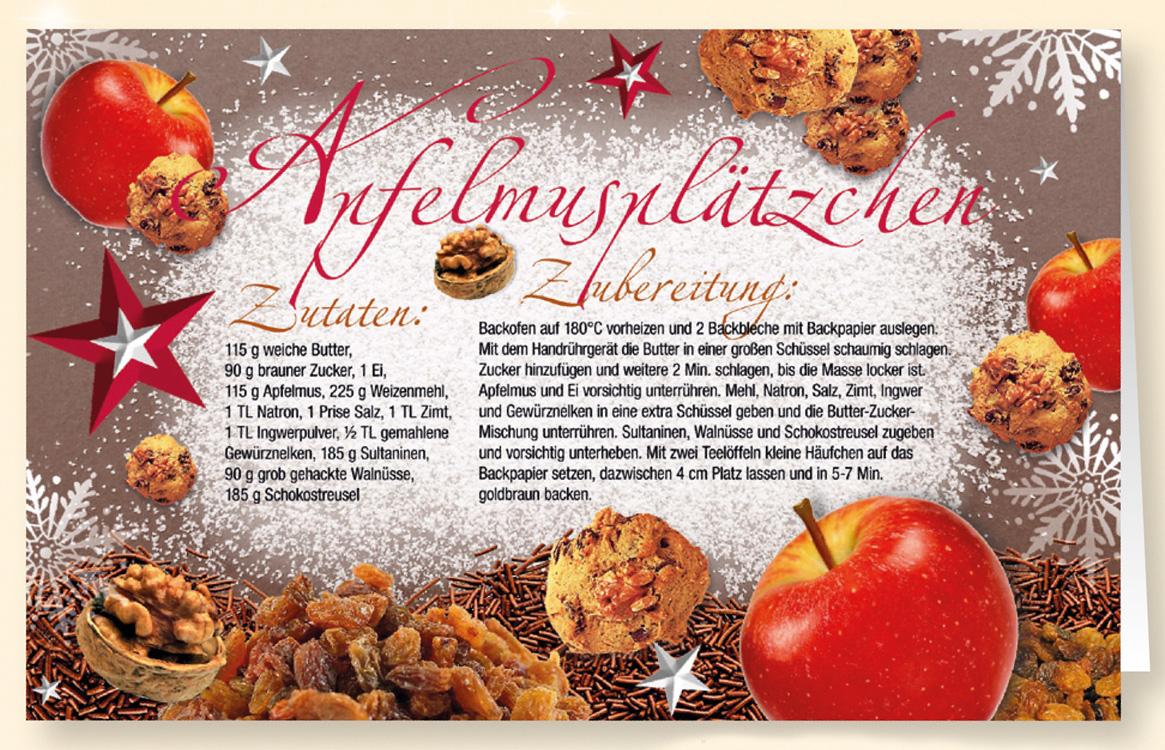 Rezept duft weihnachtskarte apfelmuspl tzchen for Weihnachtskarten erstellen