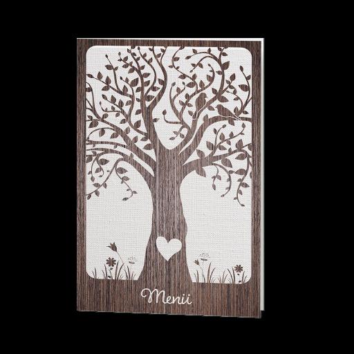 Menükarte Holzeffekt mit großem Baum; Herz und Vögeln – Hochzeit ...