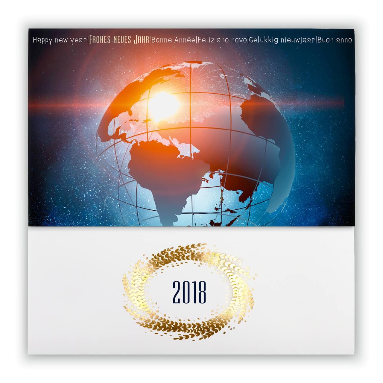 Globus Weltkugel Karte.Internationale Neujahrskarte 2018 Mit Globus Weltkugel
