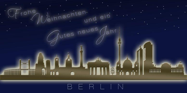 Weihnachtskarten Berlin.Weihnachtskarte Nachtblau Berlin Skyline Weihnachtsgruß Dl