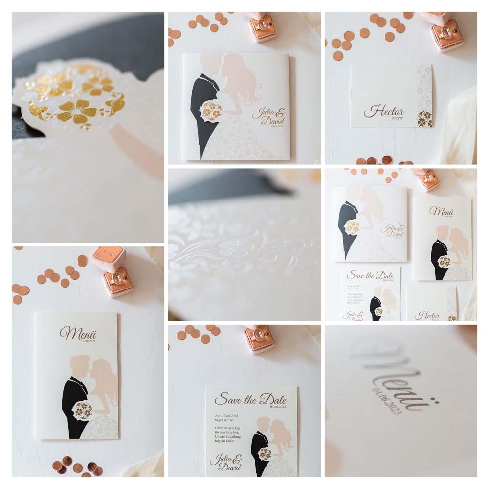 Hochzeitskarten Collage der Serie mit Braut, Bräutigam und Brautstrauß und Magnet zum Verschließen