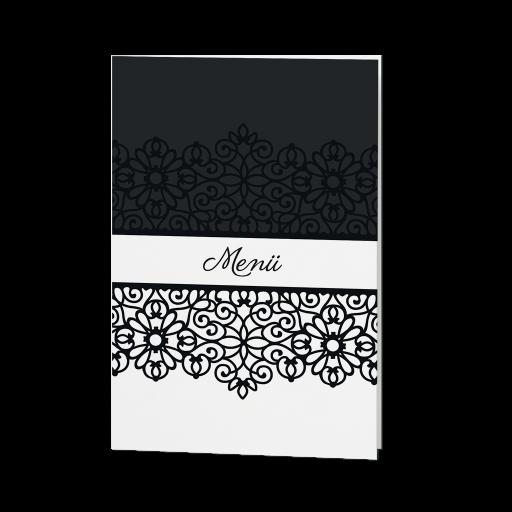 Menükarte luxuriös in schwarz-weiß mit Ornament – sonstige ...